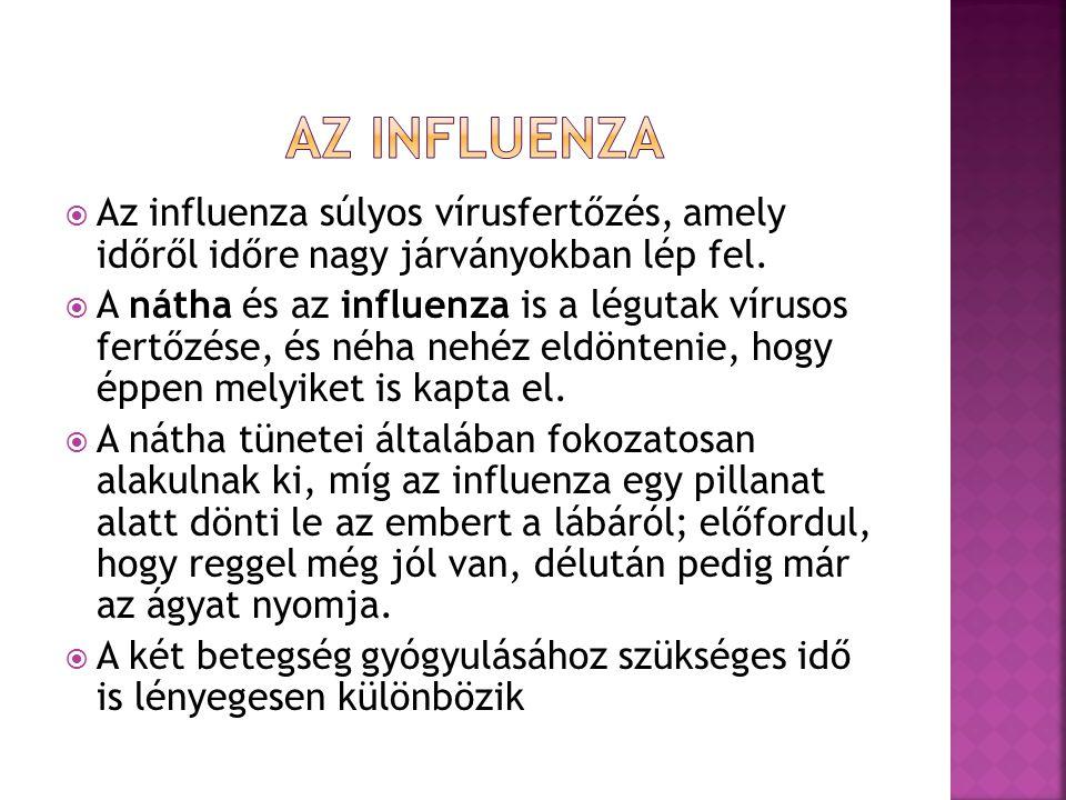 Az influenza Az influenza súlyos vírusfertőzés, amely időről időre nagy járványokban lép fel.