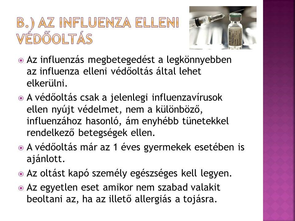 b.) Az influenza elleni védőoltás