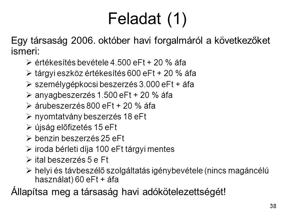 Feladat (1) Egy társaság 2006. október havi forgalmáról a következőket ismeri: értékesítés bevétele 4.500 eFt + 20 % áfa.
