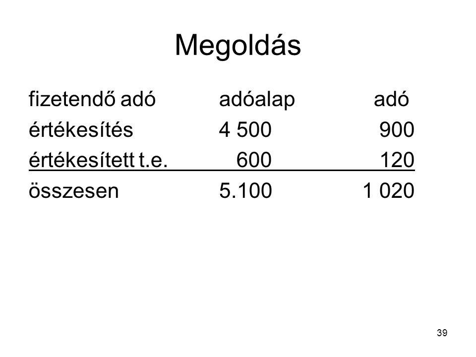 Megoldás fizetendő adó adóalap adó értékesítés 4 500 900
