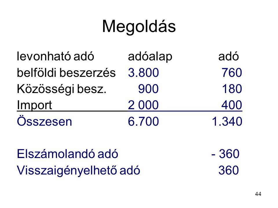 Megoldás levonható adó adóalap adó belföldi beszerzés 3.800 760