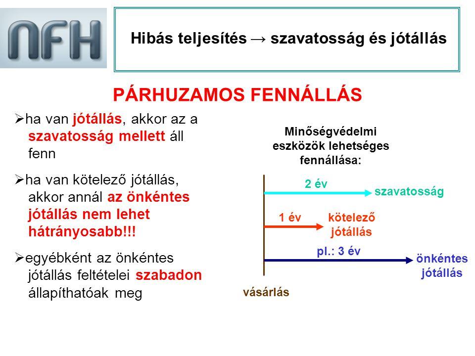 PÁRHUZAMOS FENNÁLLÁS Hibás teljesítés → szavatosság és jótállás