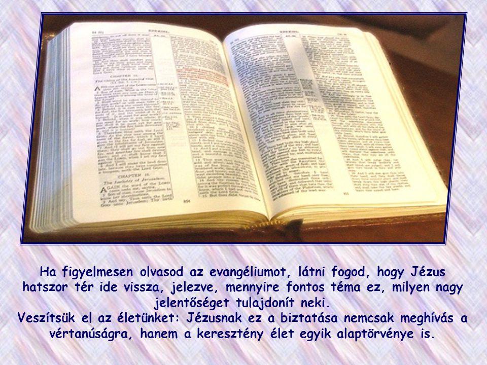 Ha figyelmesen olvasod az evangéliumot, látni fogod, hogy Jézus hatszor tér ide vissza, jelezve, mennyire fontos téma ez, milyen nagy jelentőséget tulajdonít neki.