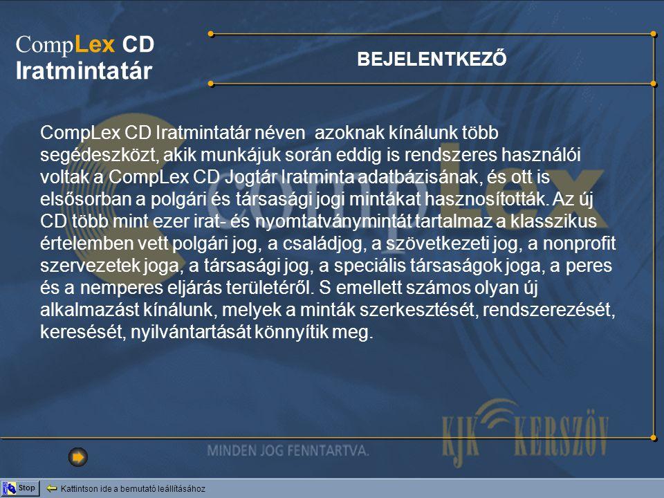 Iratmintatár CompLex CD BEJELENTKEZŐ