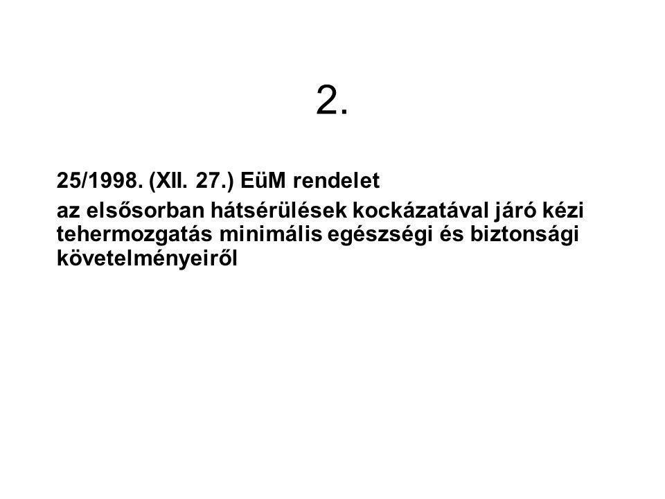 2. 25/1998. (XII. 27.) EüM rendelet.