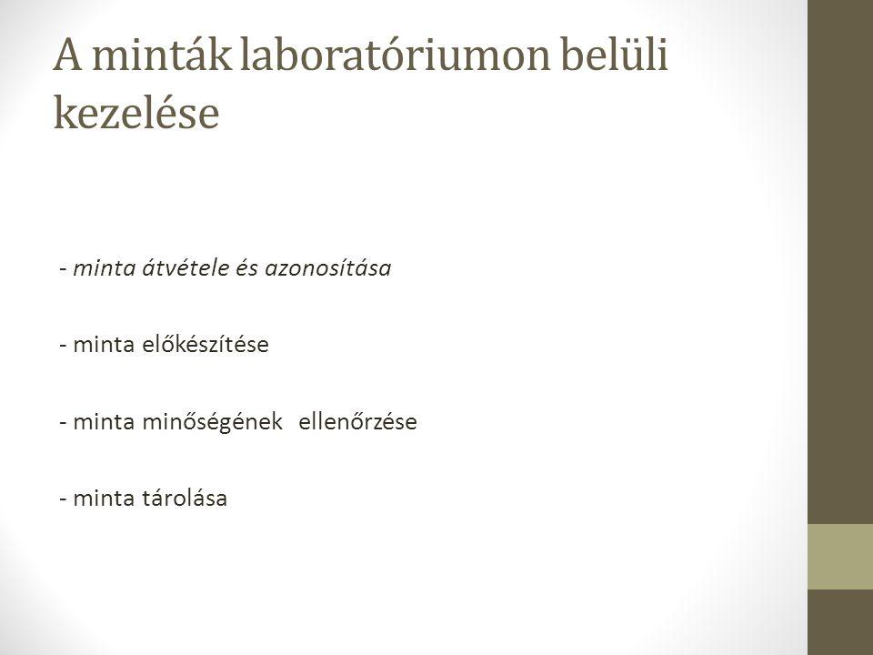 A minták laboratóriumon belüli kezelése