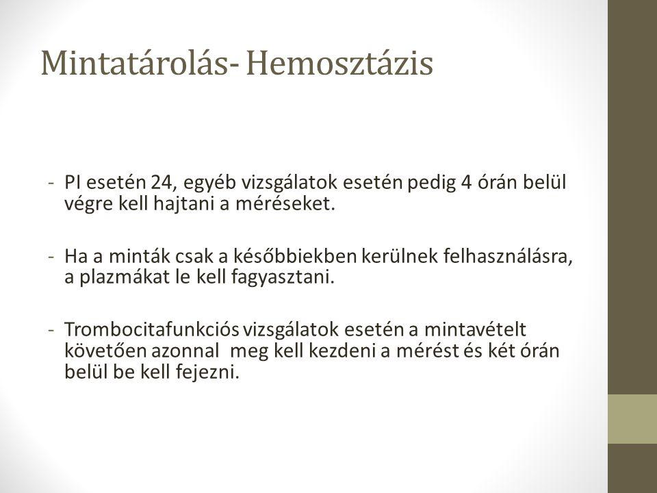 Mintatárolás- Hemosztázis