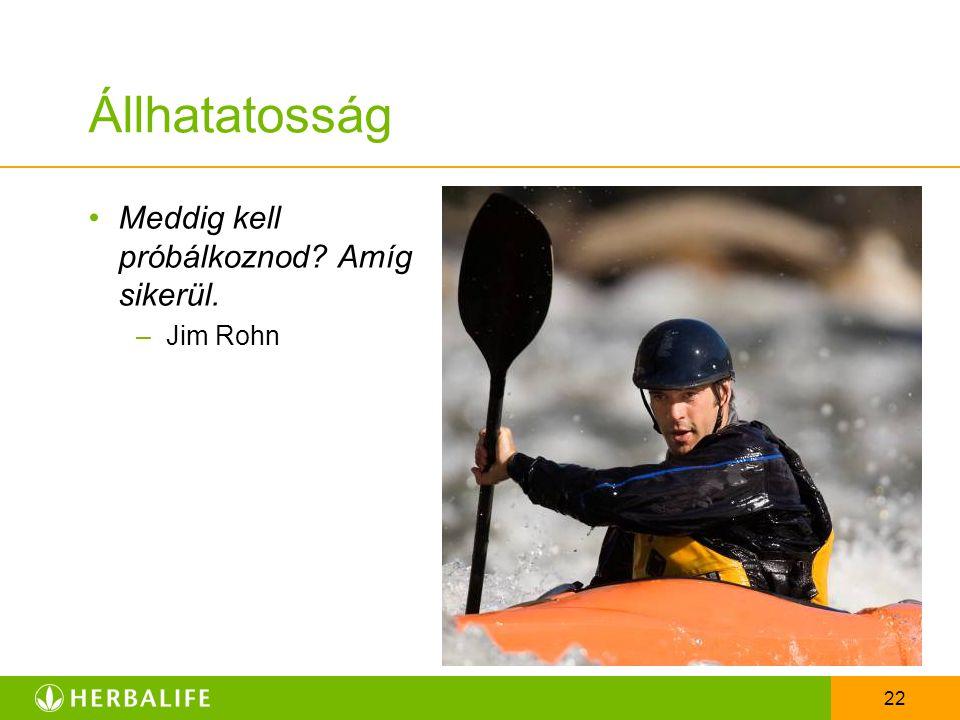 Állhatatosság Meddig kell próbálkoznod Amíg sikerül. Jim Rohn
