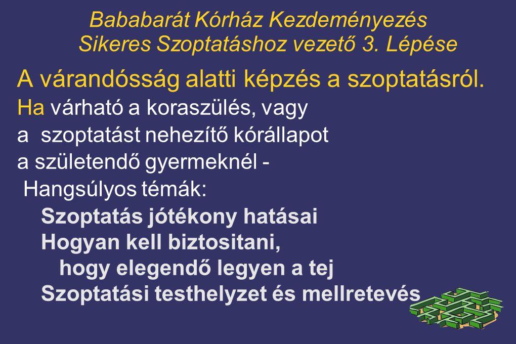 Bababarát Kórház Kezdeményezés Sikeres Szoptatáshoz vezető 3. Lépése