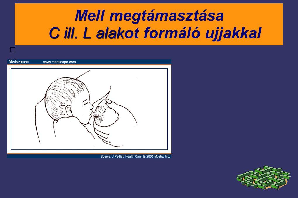 Mell megtámasztása C ill. L alakot formáló ujjakkal