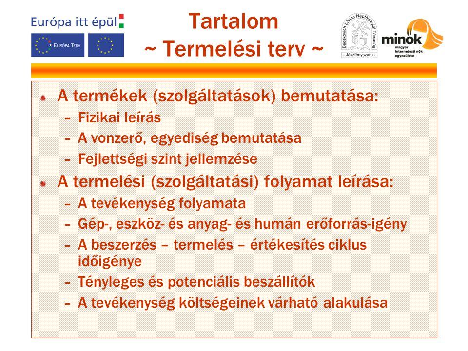 Tartalom ~ Termelési terv ~