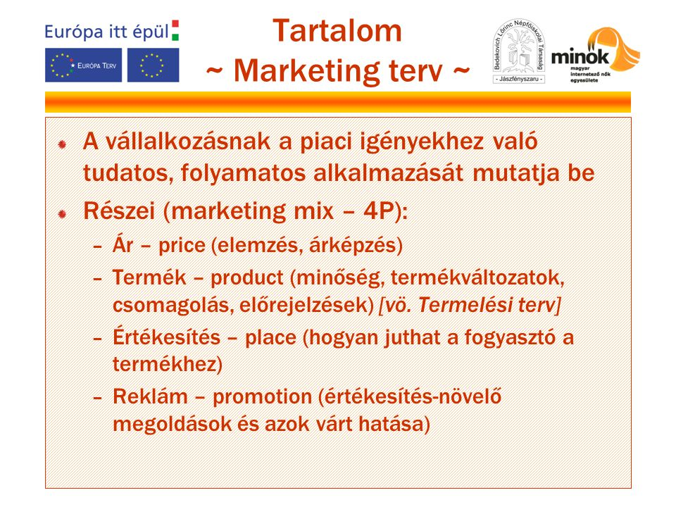 Tartalom ~ Marketing terv ~