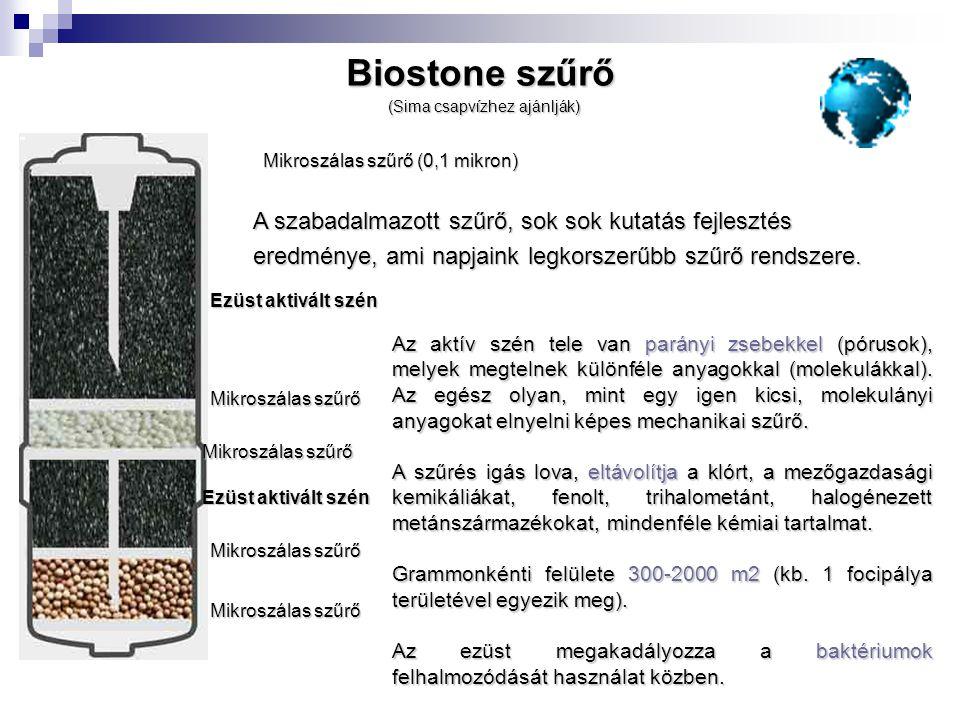 Biostone szűrő A szabadalmazott szűrő, sok sok kutatás fejlesztés
