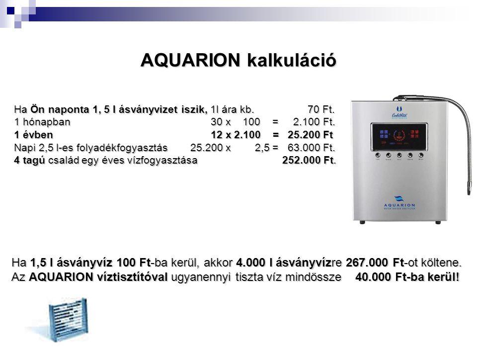 AQUARION kalkuláció Ha Ön naponta 1, 5 l ásványvizet iszik, 1l ára kb. 70 Ft.