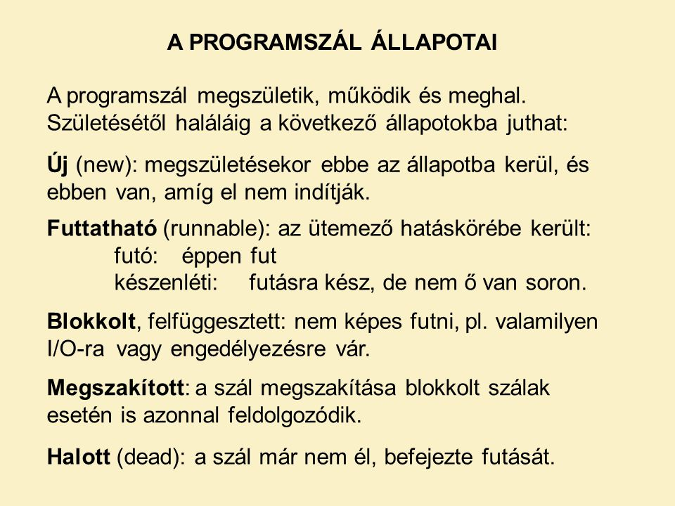 A PROGRAMSZÁL ÁLLAPOTAI