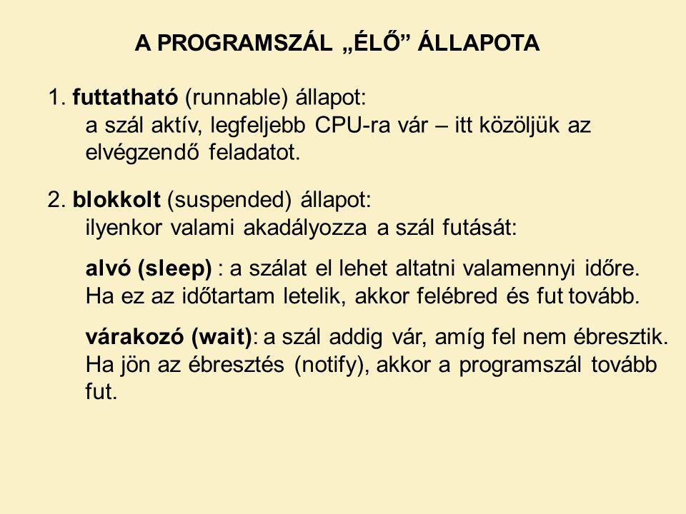 """A PROGRAMSZÁL """"ÉLŐ ÁLLAPOTA"""