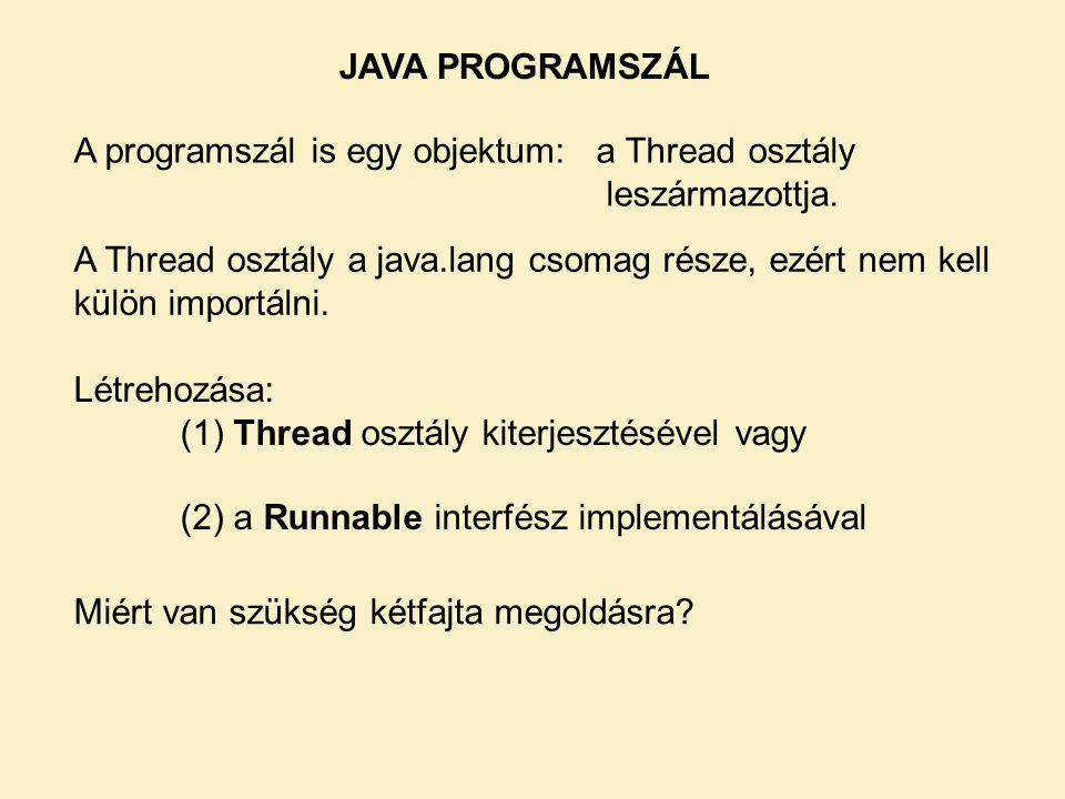 JAVA PROGRAMSZÁL A programszál is egy objektum: a Thread osztály leszármazottja.