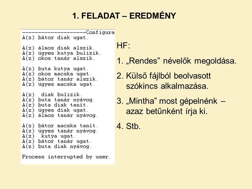"""1. FELADAT – EREDMÉNY HF: """"Rendes névelők megoldása. Külső fájlból beolvasott szókincs alkalmazása."""