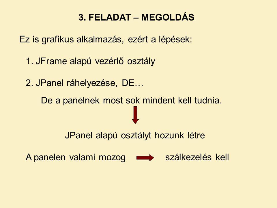 3. FELADAT – MEGOLDÁS Ez is grafikus alkalmazás, ezért a lépések: 1. JFrame alapú vezérlő osztály.