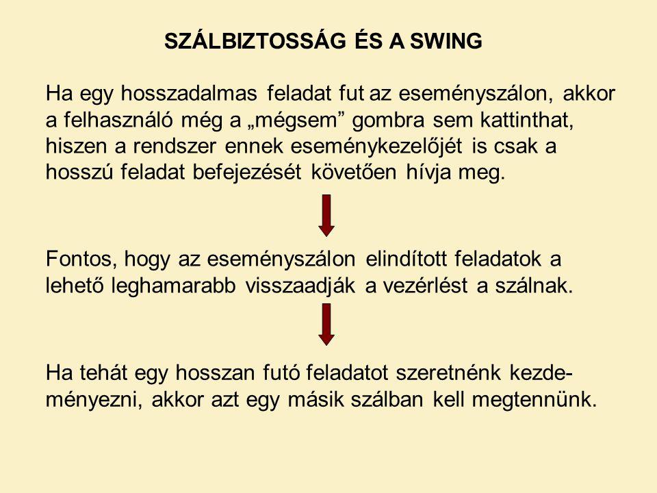 SZÁLBIZTOSSÁG ÉS A SWING