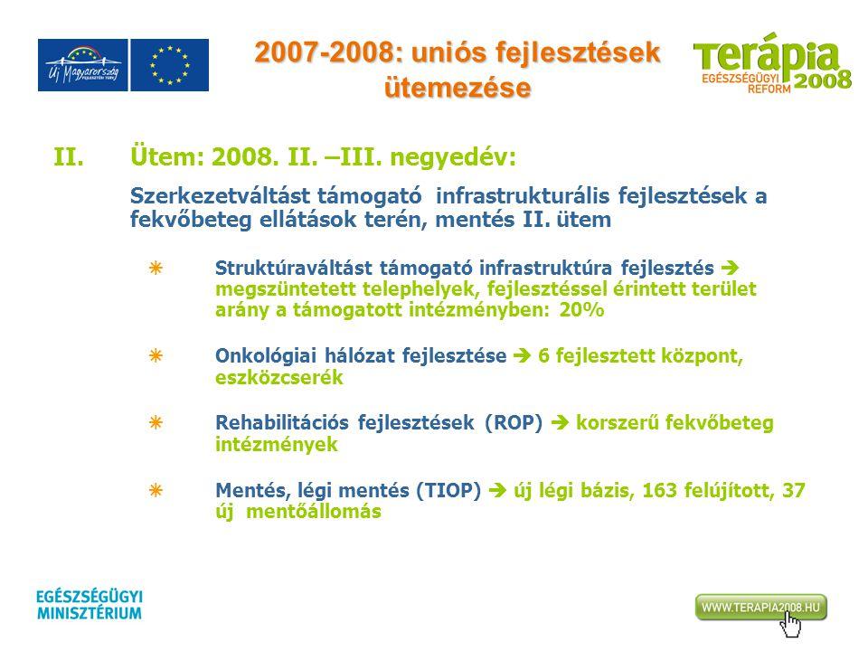 2007-2008: uniós fejlesztések ütemezése