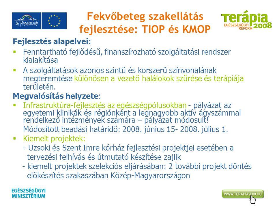 Fekvőbeteg szakellátás fejlesztése: TIOP és KMOP