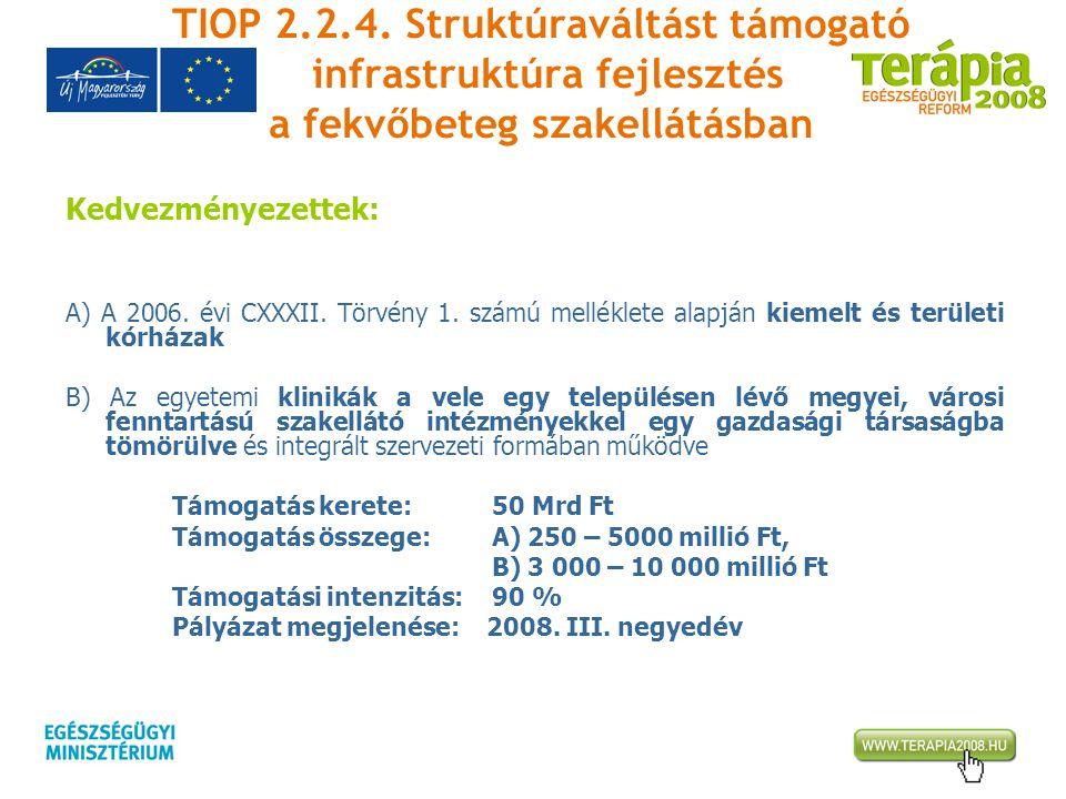TIOP 2.2.4. Struktúraváltást támogató infrastruktúra fejlesztés a fekvőbeteg szakellátásban