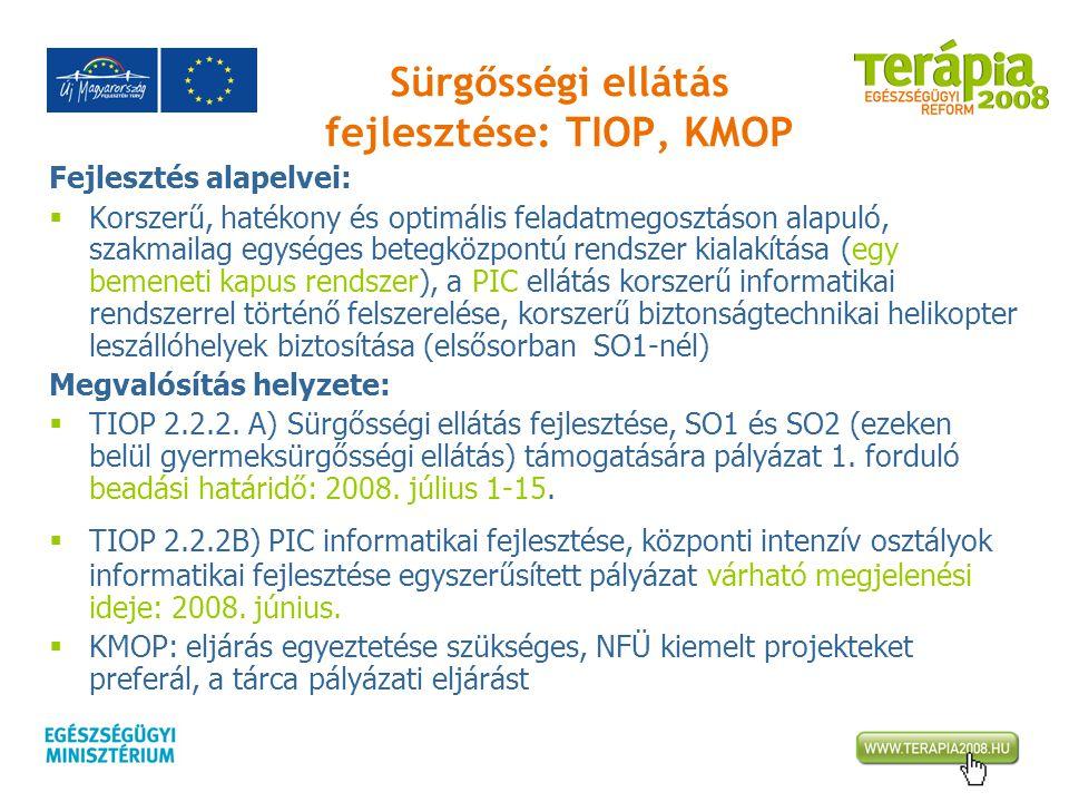 Sürgősségi ellátás fejlesztése: TIOP, KMOP