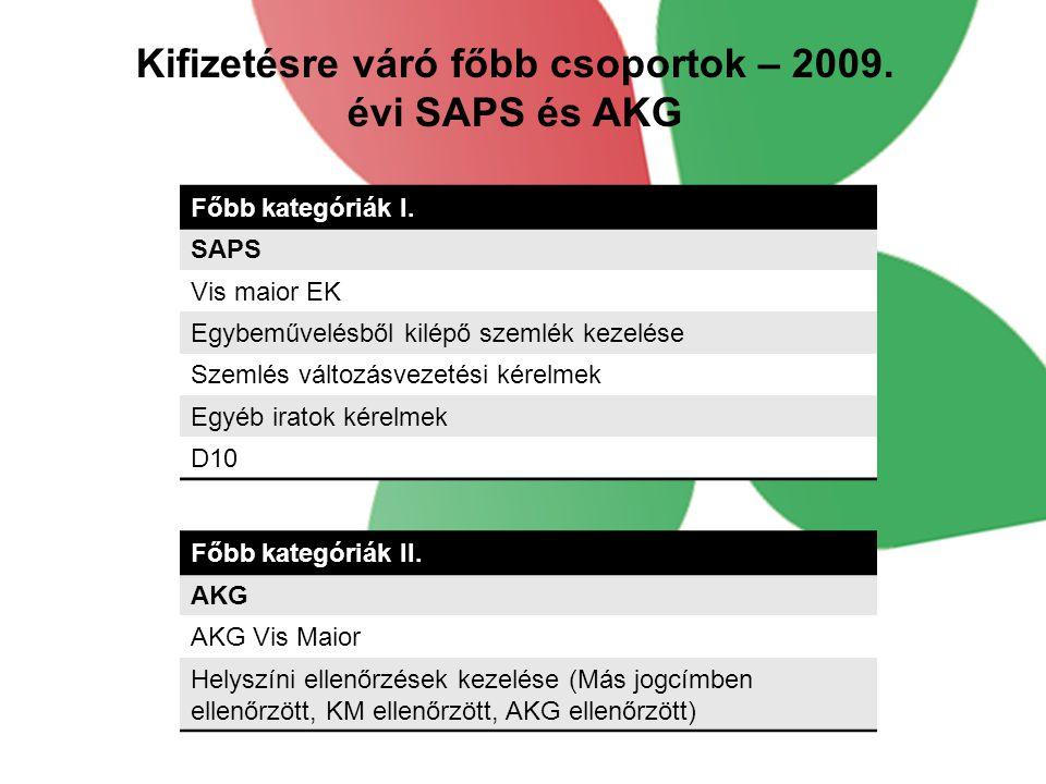 Kifizetésre váró főbb csoportok – 2009. évi SAPS és AKG