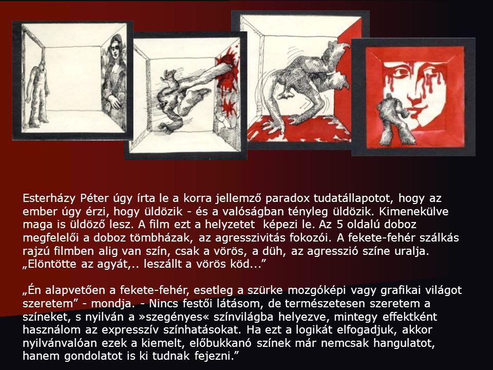 """Esterházy Péter úgy írta le a korra jellemző paradox tudatállapotot, hogy az ember úgy érzi, hogy üldözik - és a valóságban tényleg üldözik. Kimenekülve maga is üldöző lesz. A film ezt a helyzetet képezi le. Az 5 oldalú doboz megfelelői a doboz tömbházak, az agresszivitás fokozói. A fekete-fehér szálkás rajzú filmben alig van szín, csak a vörös, a düh, az agresszió színe uralja. """"Elöntötte az agyát,.. leszállt a vörös köd..."""