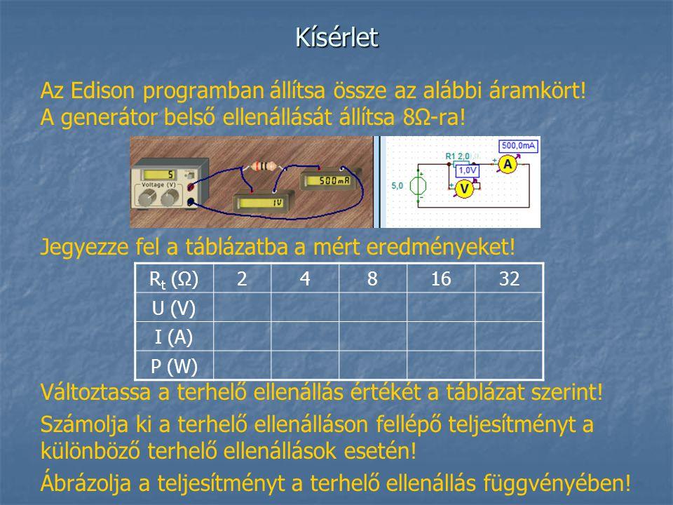 Kísérlet Az Edison programban állítsa össze az alábbi áramkört! A generátor belső ellenállását állítsa 8Ω-ra!