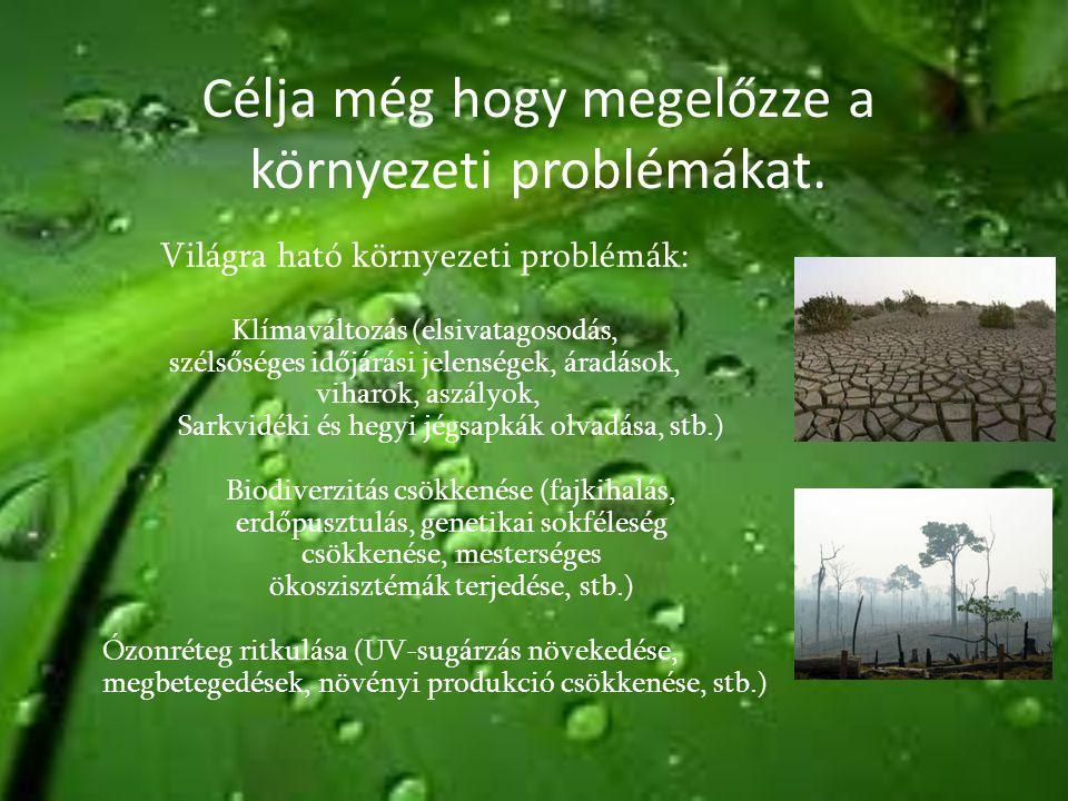 Célja még hogy megelőzze a környezeti problémákat.