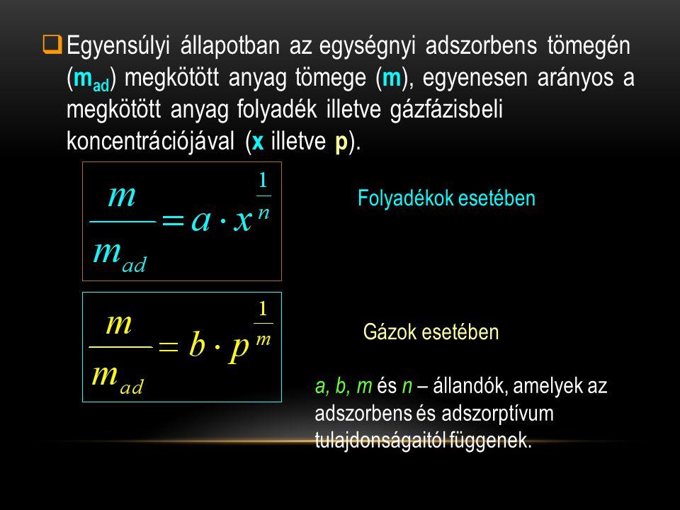 Egyensúlyi állapotban az egységnyi adszorbens tömegén (mad) megkötött anyag tömege (m), egyenesen arányos a megkötött anyag folyadék illetve gázfázisbeli koncentrációjával (x illetve p).