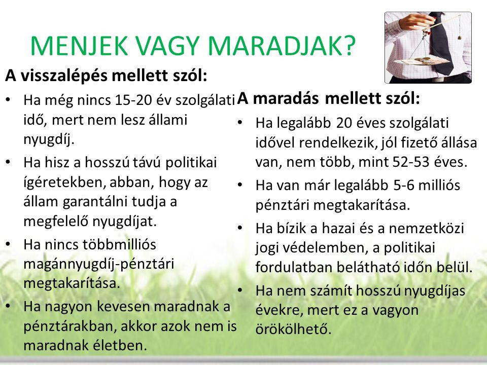MENJEK VAGY MARADJAK A visszalépés mellett szól: