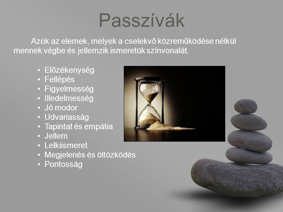 Passzívák Azok az elemek, melyek a cselekvő közreműködése nélkül mennek végbe és jellemzik ismeretük színvonalát.