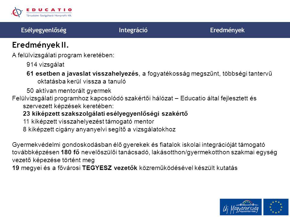 Eredmények II. Esélyegyenlőség Integráció Eredmények