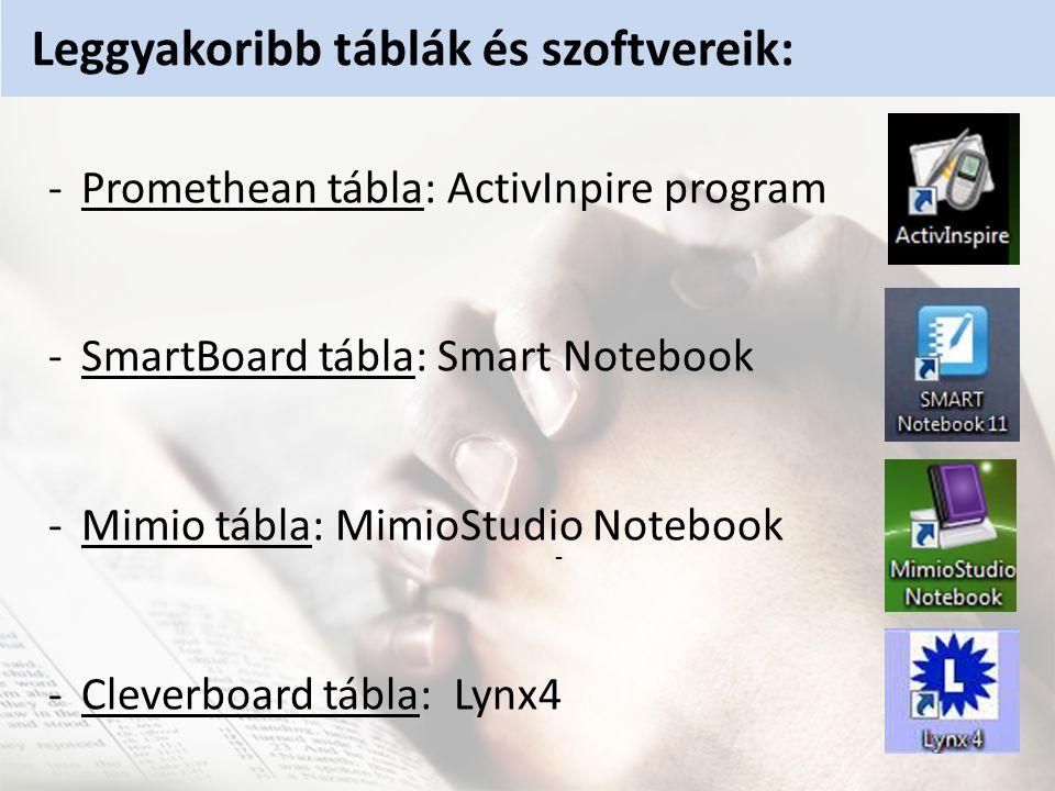 Leggyakoribb táblák és szoftvereik: