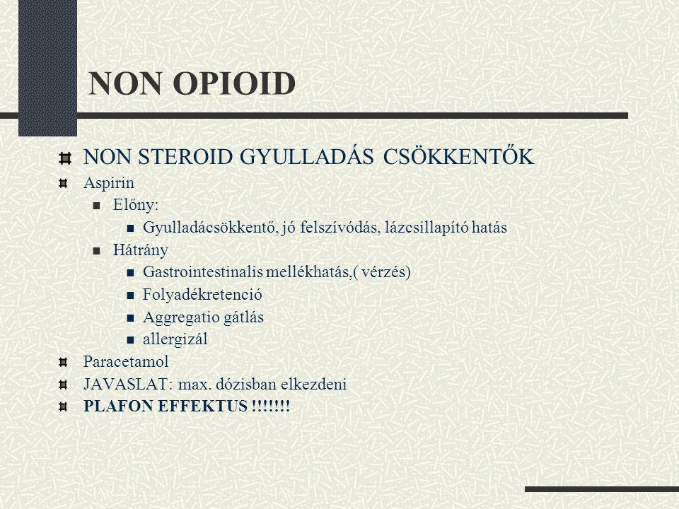 NON OPIOID NON STEROID GYULLADÁS CSÖKKENTŐK Aspirin Előny: