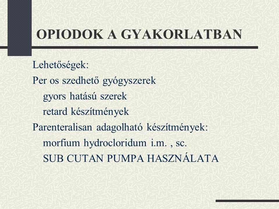 OPIODOK A GYAKORLATBAN
