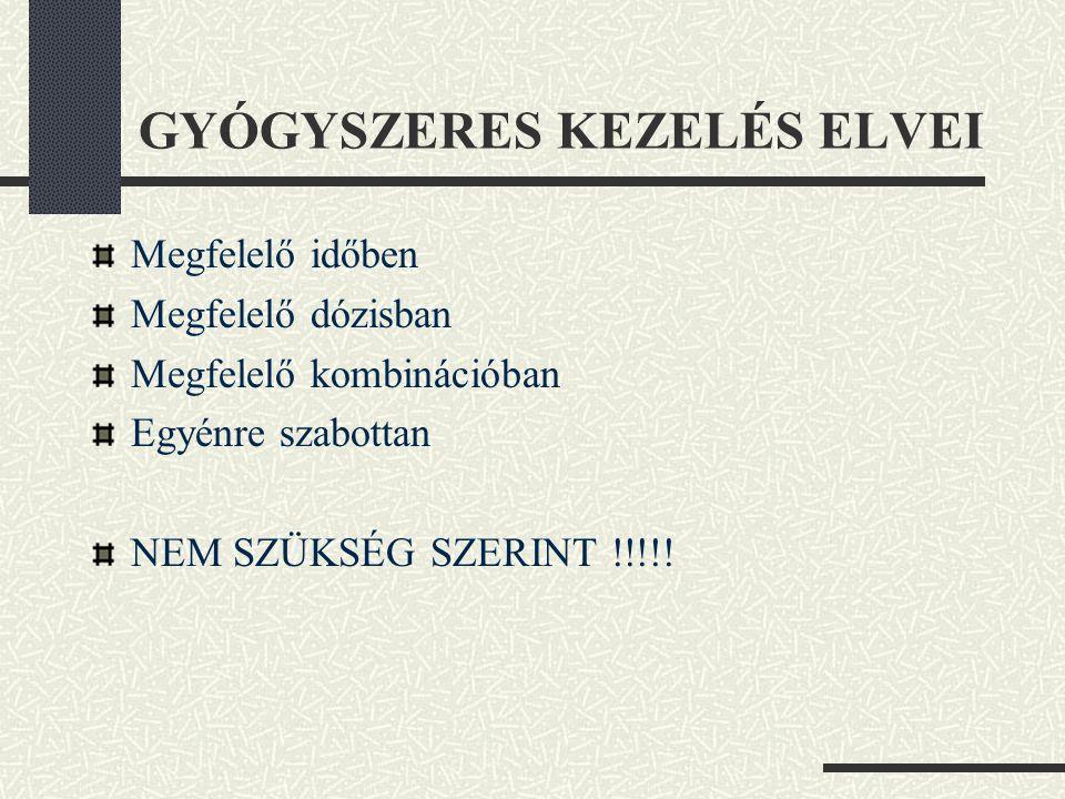 GYÓGYSZERES KEZELÉS ELVEI