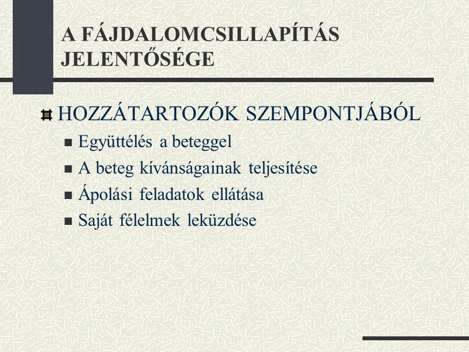 A FÁJDALOMCSILLAPÍTÁS JELENTŐSÉGE
