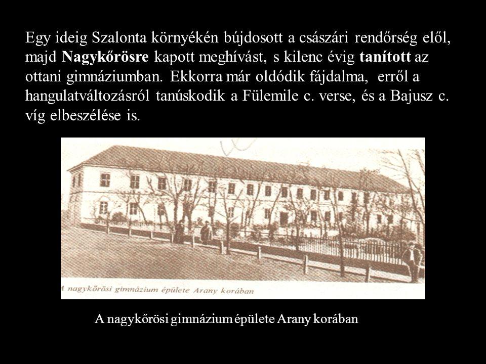 A nagykőrösi gimnázium épülete Arany korában