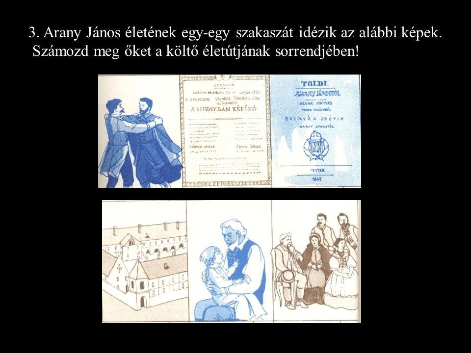 3. Arany János életének egy-egy szakaszát idézik az alábbi képek.