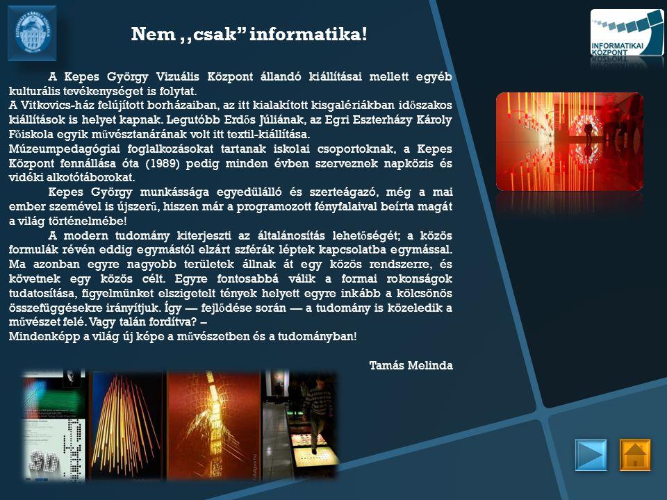 Nem ,,csak informatika! A Kepes György Vizuális Központ állandó kiállításai mellett egyéb kulturális tevékenységet is folytat.