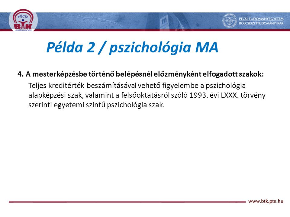 Példa 2 / pszichológia MA