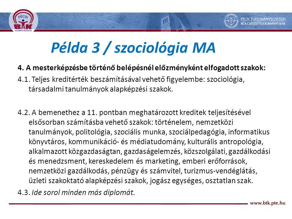 Példa 3 / szociológia MA