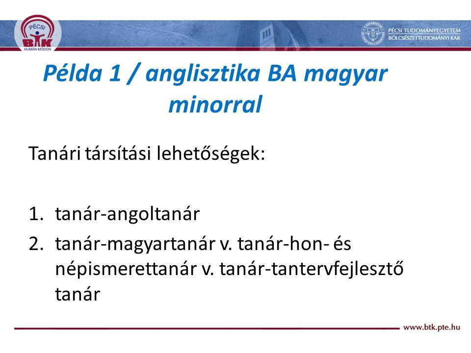Példa 1 / anglisztika BA magyar minorral