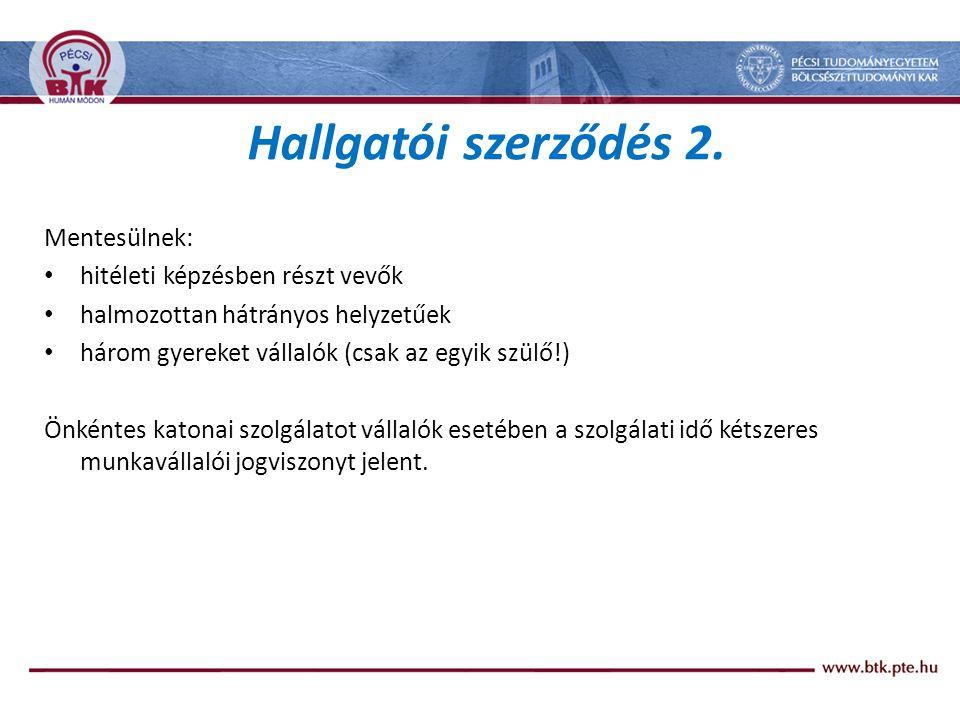Hallgatói szerződés 2. Mentesülnek: hitéleti képzésben részt vevők