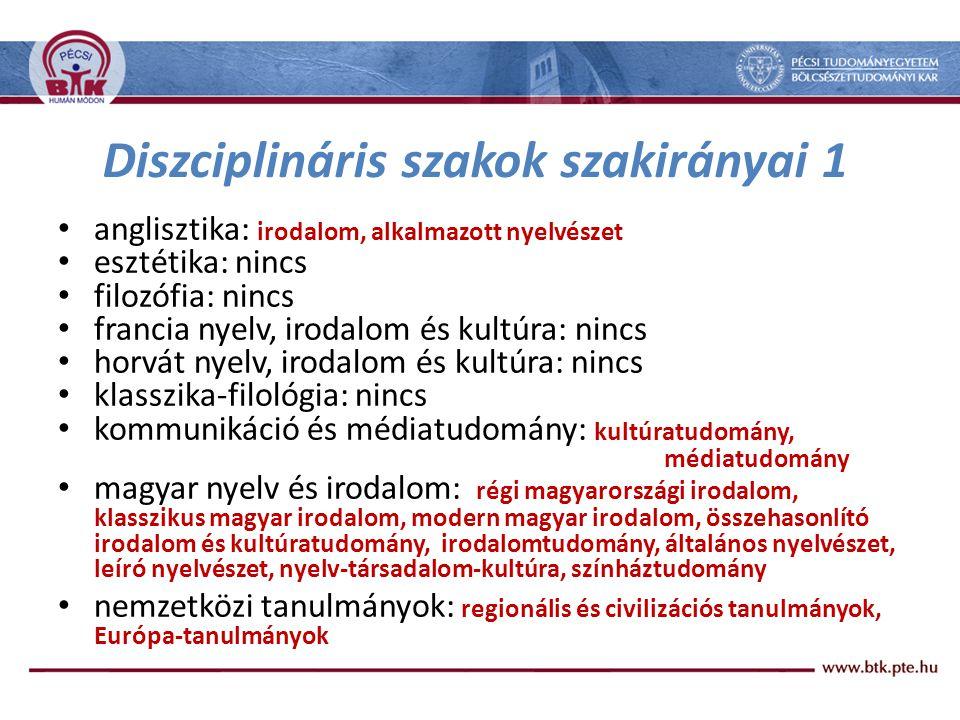 Diszciplináris szakok szakirányai 1