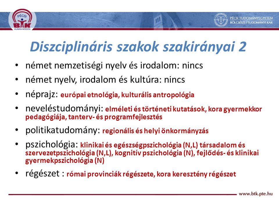 Diszciplináris szakok szakirányai 2